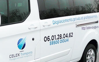 Marquage Ford Transit custom Celex Transports voyageurs